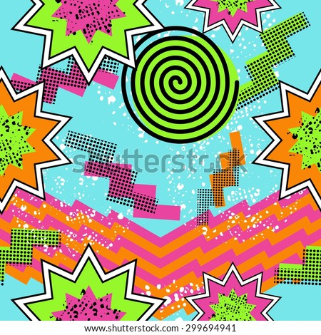 Retro vintage 80s comic shapes style seamless pattern illustration background. Ideal for fabric design, paper print and website backdrop. EPS10 vector file. - stock vector