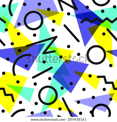 Retro vintage 80s fashion style seamless pattern illustration background. Ideal for fabric design, paper print and website backdrop. EPS10 vector file. - stock vector
