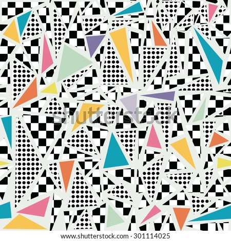 Retro vintage 80s memphis fashion style seamless pattern illustration background. Ideal for fabric design, paper print and website backdrop. EPS10 vector file. - stock vector