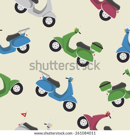 Retro vintage seamless vector scooter pattern, flat illustration - stock vector