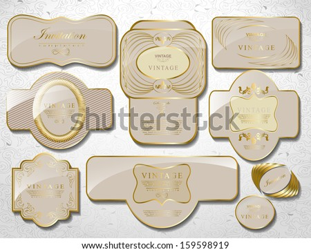 retro vintage set of white gold label and ribbon/ old style - stock vector