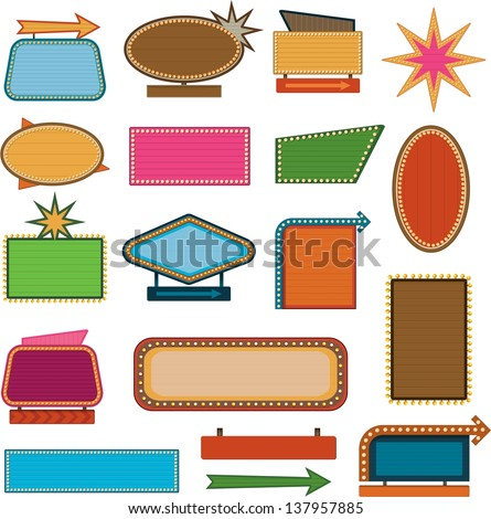 Retro vintage signs and sale labels - stock vector