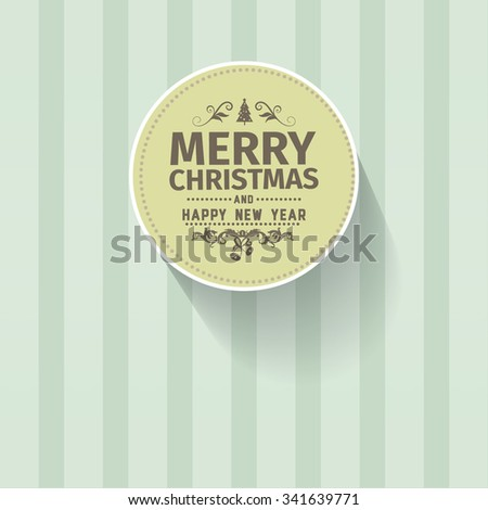 Retro vintage simple Merry Christmas vector greeting green card with Happy New Year wish greeting. Background has palmetto light pale color with light green pale vertical strips. Simple clean design - stock vector