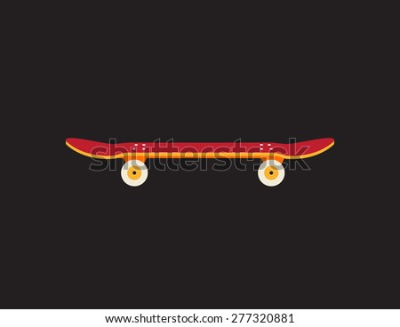 Retro vintage skateboard icon isolated on dark background - stock vector