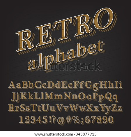 Retro Vintage Style Alphabet font with Lined Shadow. Type letters, numbers and punctuation marks. Vintage design vector font. - stock vector
