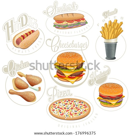 Retro vintage style fast food designs. Set of Calligraphic titles and symbols for foods. Pizza, Sandwich, Hot Dog, French Fries, Hamburger, Cheeseburger and Drumstick realistic illustrations.  - stock vector