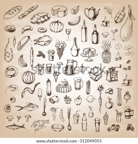 Retro vintage style food design. Hand drawn elements for cooking, vegetables, restaurant and vegetarian food. Vector illustration. - stock vector