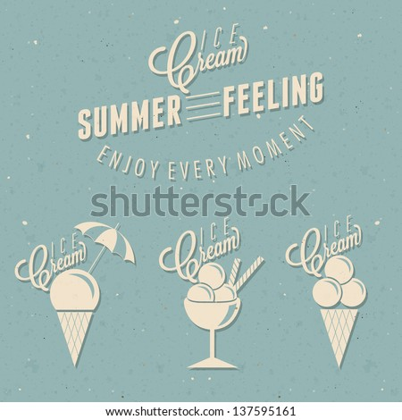 Retro vintage style Ice Cream design. Set of Calligraphic titles and symbols for Ice Cream  type. Hand lettering style. Illustrations for dessert menu and other food designs. - stock vector