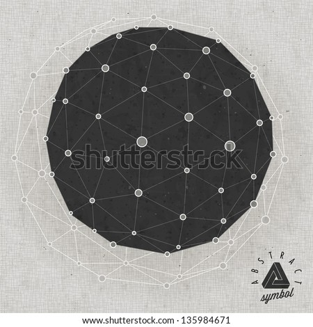 Retro vintage style icosahedron background. Geometric shape. Vintage geometric background design. Abstract background and symbol. Spherical in triangles. Impossible Shape. - stock vector