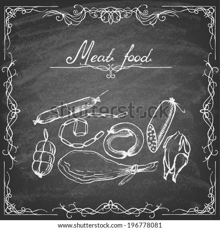 Retro vintage style meat food design. Hand drawn elements.  Vector illustration. - stock vector