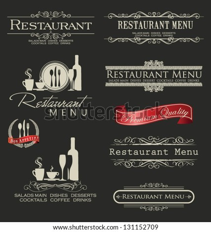 Retro vintage style restaurant menu designs - stock vector