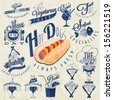 Retro vintage style restaurant menu designs. Set of Calligraphic titles and symbols for restaurant design. Hand lettering style calligraphy design. Hot Dogs illustration and other fast food symbols. - stock vector