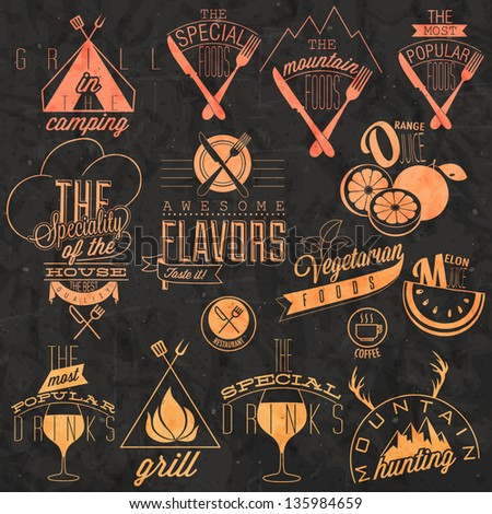 Retro vintage style restaurant menu designs. Set of Calligraphic titles and symbols for restaurant design. Hand lettering style. Orange and melon illustrations. Vector. Mountain. Fast Food.  - stock vector
