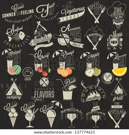 Retro vintage style restaurant menu designs. Set of Calligraphic titles and symbols. Hand lettering style. Orange, Melon, Apple and Cherry illustrations. Ice Cream. Typographic. Fast food. Vector.  - stock vector