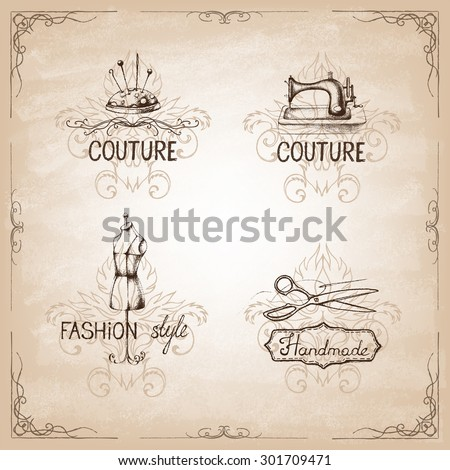 Retro vintage style. Set of tailor labels, emblems and design elements.  Vector illustration. Logo. - stock vector