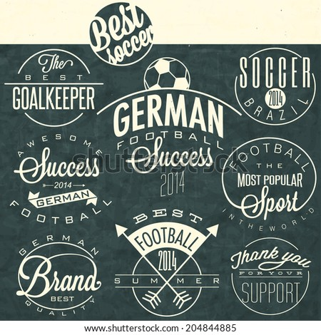 Retro vintage style soccer emblem collection. Set of Calligraphic titles and symbols for football.  Hand lettering soccer slogans. One realistic vector illustrated Soccer Ball. - stock vector