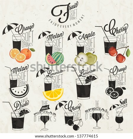 Retro vintage style Soft Drinks design. Set of Calligraphic titles and symbols for Fruit Drinks type. Hand lettering style. Orange, Melon, Apple and Cherry illustrations. Typographic. Vector - stock vector