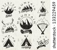 Retro vintage style symbols for Mountain Expedition: Adventure, Mountain Camping, Mountain Hunting, Mountain Tour, Mountain Foods, Camping site, Camping Grill, Biking Tours. Mountain feeling. Vector. - stock vector