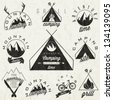 Retro vintage style symbols for Mountain Expedition: Adventure, Mountain Camping, Mountain Hunting, Mountain Tour, Mountain Foods, Camping site, Camping Grill, Biking Tours. Mountain feeling. Vector. - stock