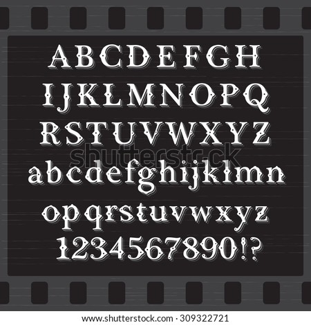 Retro Vintage Style White Font with Shadows on Black Background. Set of Both Case Letters and Digits - stock vector