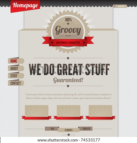 Retro Vintage Styled Website Template Design Stock Vector HD ...