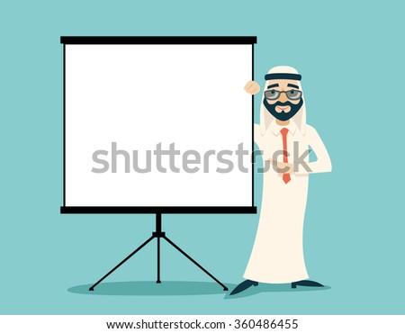 Retro Vintage Successful Arab Businessman Traditional National Muslim Clothes Cartoon Character White Board Presentation Icon on Stylish Background Retro Cartoon Design Vector Illustration - stock vector