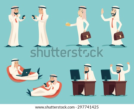 Retro Vintage Successful Arab Businessman Working Set Traditional National Muslim Clothes Cartoon Characters Icon Stylish Background Retro Cartoon Design Vector Illustration - stock vector