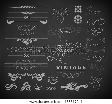 "Retro vintage ''Thank you"" calligraphic design elements, page decoration and labels of drawing with chalk on blackboard - stock vector"