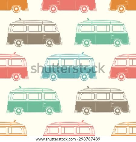Retro, vintage, travel, camper van, with surfing board, seamless pattern. Vector illustration. - stock vector