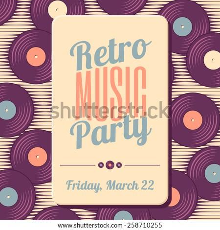Retro, vintage vinyl record soft colored template - stock vector