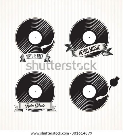 Retro vinyl records badges - stock vector