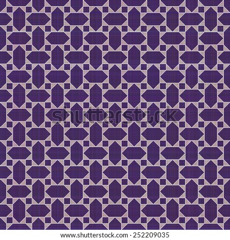 Retro violet ornate mosaic seamless plaid  - stock vector