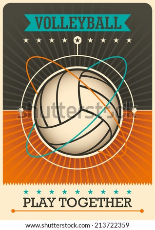 Retro volleyball poster design. Vector illustration. - stock vector