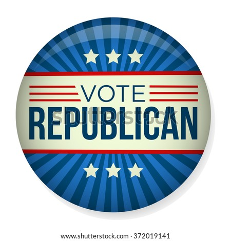 Retro Vote Republican Campaign Button - stock vector