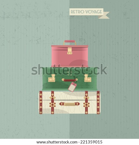 Retro voyage. Stack of vintages suitcases. Travel concept. Vector illustration. - stock vector
