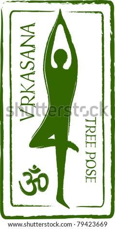 Retro Vrkasana Yoga Tree Pose in Passport Stamp Style Vector Illustration - stock vector