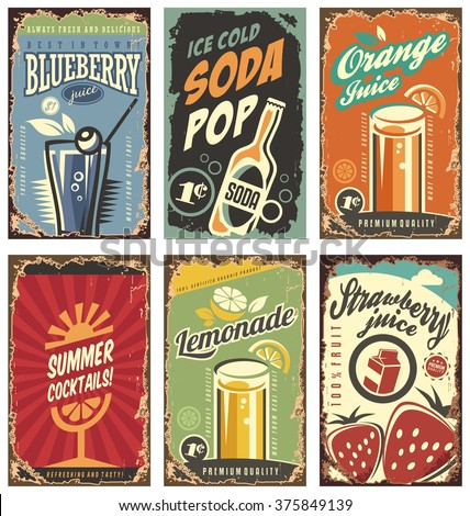 Retro wall decor with juices and drinks set. Vintage tin signs collection with organic fruit products. Vector juice signs in vintage style with typography elements. - stock vector