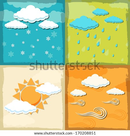 retro weather background concept. vector illustration
