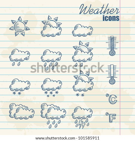 Retro weather icons hand drawn on grunge vintage background - stock vector