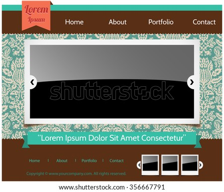 Retro Web Template  - Retro web layout design and design elements.  Pattern tile is included in swatches window.  Colors are global for easy editing.  - stock vector