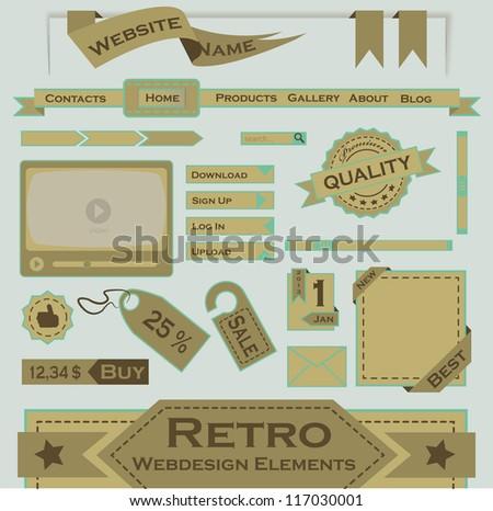 Retro Webdesign Elements - stock vector