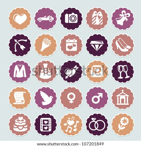 retro wedding collection - vector icons and badges - stock vector