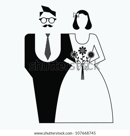 Retro wedding couple