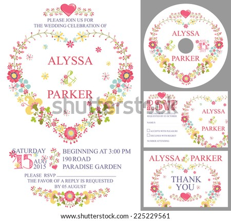 Retro wedding design template set with floral decor. Cute cartoon floral wreath in heart shape in retro style.Wedding invitation,cd,dvd,Thank card,RSVP card.Vector - stock vector
