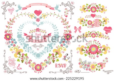 Retro wedding design template set with floral decor,ribbons,pigeon,swirling border. Cute cartoon floral wreath in heart shape in retro style,floral group.For Wedding invitation,card.Vintage Vector - stock vector