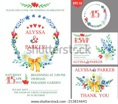 Retro wedding design template set with watercolor flowers ,bow,hearts and branches wreath.Decorative hand drawing floral decor.Vector invitation,number,RSVP,Thank you card - stock vector