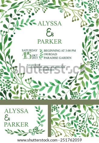 Retro wedding design template with watercolor green branches  pattern.Decorative hand drawing watercolor painting floral decor,background.Vector vintage invitation card - stock vector