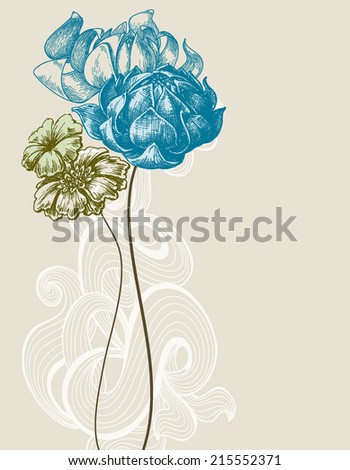 Retro wedding flower bouquet - stock vector