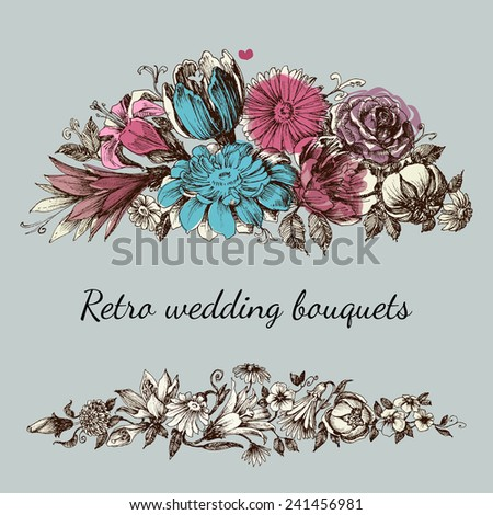 Retro wedding flower bouquets, floral garden design elements - stock vector