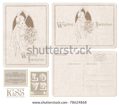 Retro Wedding Invitation postcard with Bride - for design and scrapbook - stock vector